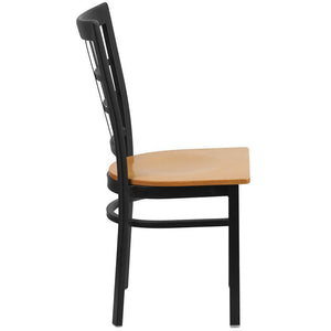 HERCULES Series Black Window Back Metal Restaurant Chair - Natural Wood Seat