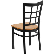 Load image into Gallery viewer, HERCULES Series Black Window Back Metal Restaurant Chair - Natural Wood Seat