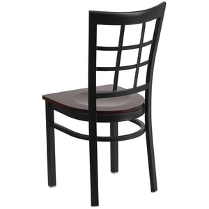HERCULES Series Black Window Back Metal Restaurant Chair - Walnut Wood Seat