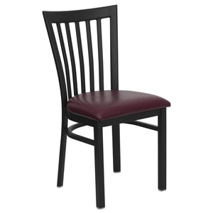 HERCULES Series Black School House Back Metal Restaurant Chair - Burgundy Vinyl Seat