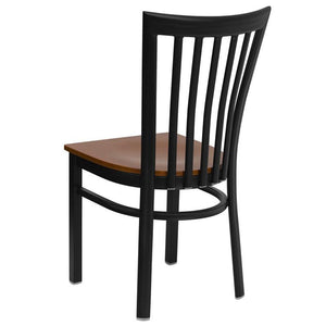 HERCULES Series Black School House Back Metal Restaurant Chair - Cherry Wood Seat