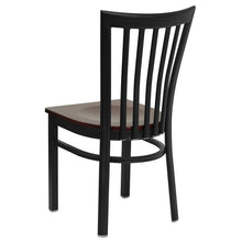 Load image into Gallery viewer, HERCULES Series Black School House Back Metal Restaurant Chair - Mahogany Wood Seat