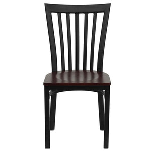 HERCULES Series Black School House Back Metal Restaurant Chair - Mahogany Wood Seat