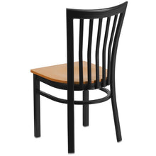 Load image into Gallery viewer, HERCULES Series Black School House Back Metal Restaurant Chair - Natural Wood Seat
