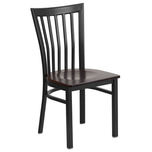 HERCULES Series Black School House Back Metal Restaurant Chair - Walnut Wood Seat