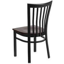 Load image into Gallery viewer, HERCULES Series Black School House Back Metal Restaurant Chair - Walnut Wood Seat