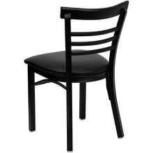 Load image into Gallery viewer, HERCULES Series Black Ladder Back Metal Restaurant Chair - Black Vinyl Seat