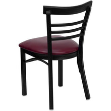 Load image into Gallery viewer, HERCULES Series Black Ladder Back Metal Restaurant Chair - Burgundy Vinyl Seat
