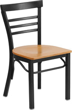 Load image into Gallery viewer, HERCULES Series Black Three-Slat Ladder Back Metal Restaurant Chair - Natural Wood Seat