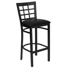Load image into Gallery viewer, HERCULES Series Black Window Back Metal Restaurant Barstool - Black Vinyl Seat