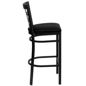 HERCULES Series Black Window Back Metal Restaurant Barstool - Black Vinyl Seat
