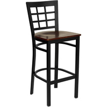 Load image into Gallery viewer, HERCULES Series Black Window Back Metal Restaurant Barstool - Mahogany Wood Seat