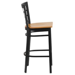 HERCULES Series Black Window Back Metal Restaurant Barstool - Natural Wood Seat