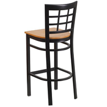 Load image into Gallery viewer, HERCULES Series Black Window Back Metal Restaurant Barstool - Natural Wood Seat