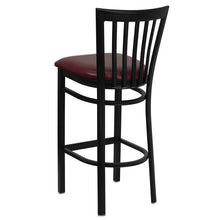 Load image into Gallery viewer, HERCULES Series Black School House Back Metal Restaurant Barstool - Burgundy Vinyl Seat