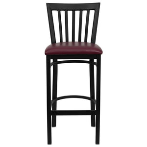 HERCULES Series Black School House Back Metal Restaurant Barstool - Burgundy Vinyl Seat