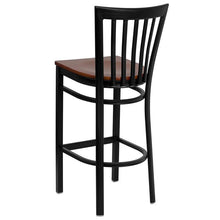 Load image into Gallery viewer, HERCULES Series Black School House Back Metal Restaurant Barstool - Cherry Wood Seat