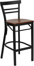 Load image into Gallery viewer, HERCULES Series Black Two-Slat Ladder Back Metal Restaurant Barstool - Cherry Wood Seat