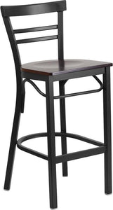 HERCULES Series Black Two-Slat Ladder Back Metal Restaurant Barstool - Walnut Wood Seat