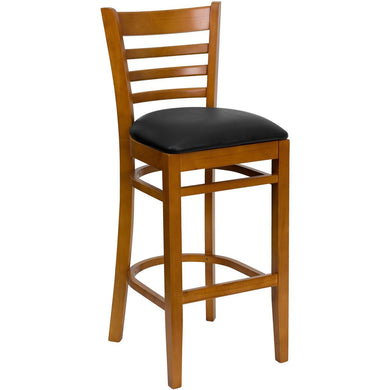 HERCULES Series Ladder Back Cherry Wood Restaurant Barstool - Black Vinyl Seat