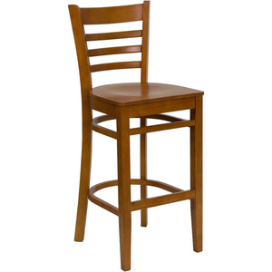 HERCULES Series Ladder Back Cherry Wood Restaurant Barstool