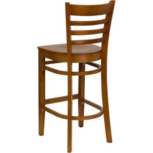 Load image into Gallery viewer, HERCULES Series Ladder Back Cherry Wood Restaurant Barstool