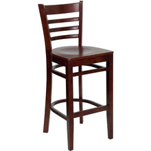 Load image into Gallery viewer, HERCULES Series Ladder Back Mahogany Wood Restaurant Barstool