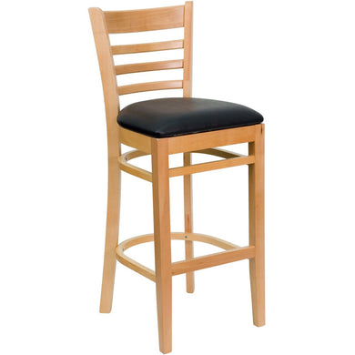 HERCULES Series Ladder Back Natural Wood Restaurant Barstool - Black Vinyl Seat