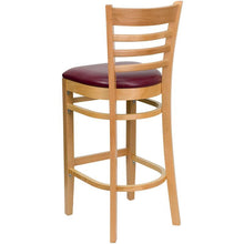 Load image into Gallery viewer, HERCULES Series Ladder Back Natural Wood Restaurant Barstool - Burgundy Vinyl Seat