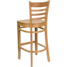 Load image into Gallery viewer, HERCULES Series Ladder Back Natural Wood Restaurant Barstool