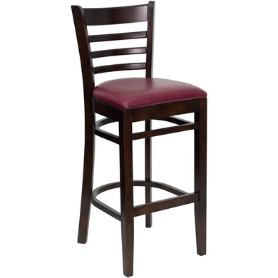 HERCULES Series Ladder Back Walnut Wood Restaurant Barstool - Burgundy Vinyl Seat