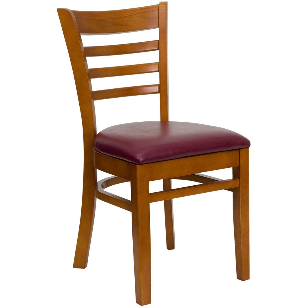 HERCULES Series Ladder Back Cherry Wood Restaurant Chair - Burgundy Vinyl Seat