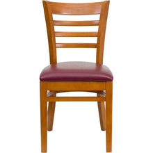 Load image into Gallery viewer, HERCULES Series Ladder Back Cherry Wood Restaurant Chair - Burgundy Vinyl Seat