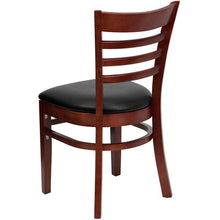 Load image into Gallery viewer, HERCULES Series Ladder Back Mahogany Wood Restaurant Chair - Black Vinyl Seat