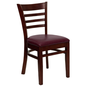 HERCULES Series Ladder Back Mahogany Wood Restaurant Chair - Burgundy Vinyl Seat