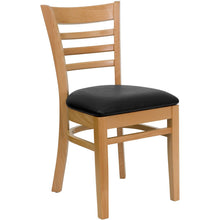 Load image into Gallery viewer, HERCULES Series Ladder Back Natural Wood Restaurant Chair - Black Vinyl Seat