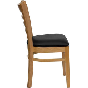 HERCULES Series Ladder Back Natural Wood Restaurant Chair - Black Vinyl Seat
