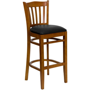 HERCULES Series Vertical Slat Back Cherry Wood Restaurant Barstool - Black Vinyl Seat
