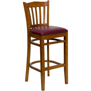 HERCULES Series Vertical Slat Back Cherry Wood Restaurant Barstool - Burgundy Vinyl Seat