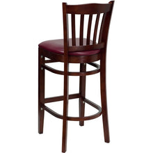 Load image into Gallery viewer, HERCULES Series Vertical Slat Back Mahogany Wood Restaurant Barstool - Burgundy Vinyl Seat