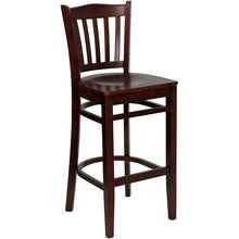 Load image into Gallery viewer, HERCULES Series Vertical Slat Back Mahogany Wood Restaurant Barstool