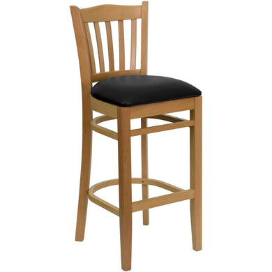 HERCULES Series Vertical Slat Back Natural Wood Restaurant Barstool - Black Vinyl Seat