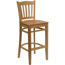 Load image into Gallery viewer, HERCULES Series Vertical Slat Back Natural Wood Restaurant Barstool