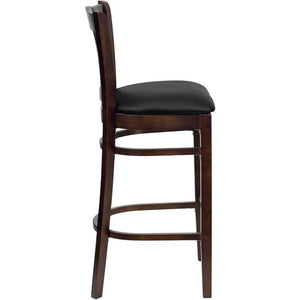 HERCULES Series Vertical Slat Back Walnut Wood Restaurant Barstool - Black Vinyl Seat