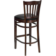Load image into Gallery viewer, HERCULES Series Vertical Slat Back Walnut Wood Restaurant Barstool - Black Vinyl Seat