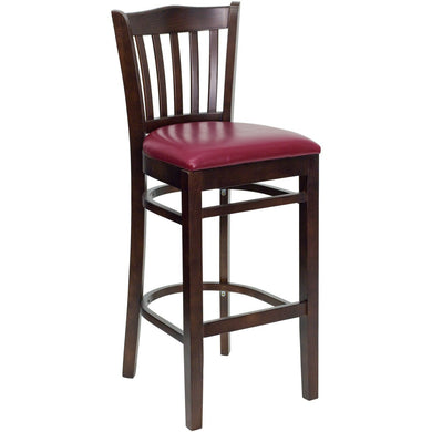 HERCULES Series Vertical Slat Back Walnut Wood Restaurant Barstool - Burgundy Vinyl Seat