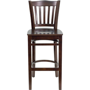 HERCULES Series Vertical Slat Back Walnut Wood Restaurant Barstool