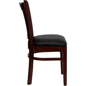 HERCULES Series Vertical Slat Back Mahogany Wood Restaurant Chair - Black Vinyl Seat