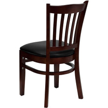 Load image into Gallery viewer, HERCULES Series Vertical Slat Back Mahogany Wood Restaurant Chair - Black Vinyl Seat