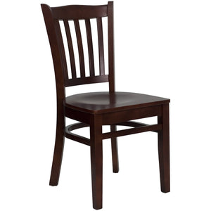 HERCULES Series Vertical Slat Back Mahogany Wood Restaurant Chair